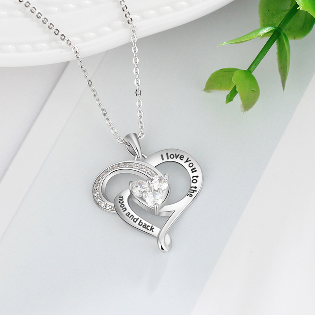"""brixini.com - """"I love you to the moon and back"""" 925 Sterling Silver Heart Necklace"""