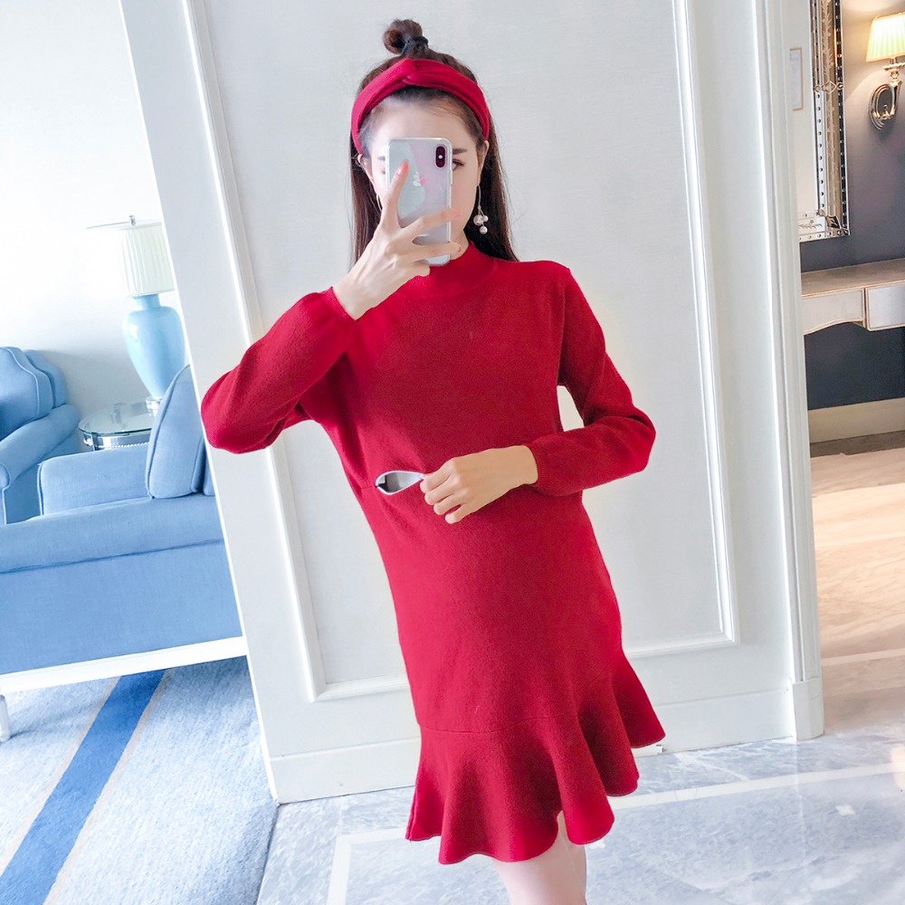 Pregnant women breastfeeding dress 2018 autumn new fashion work fishtail skirt out loose long-sleeved knit skirt checkered fishtail hem skirt