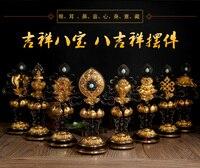 GOOD Wholesale Buddhist articles # Buddhism religious ceremonies Eight Auspicious Symbols of Buddhism 8 JI XIANG Gilding statue