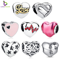 2017 New 925 Sterling Silver Skeleton Heart Charms fit Bracelets & Necklace for Women Engagement Accessories PAS001