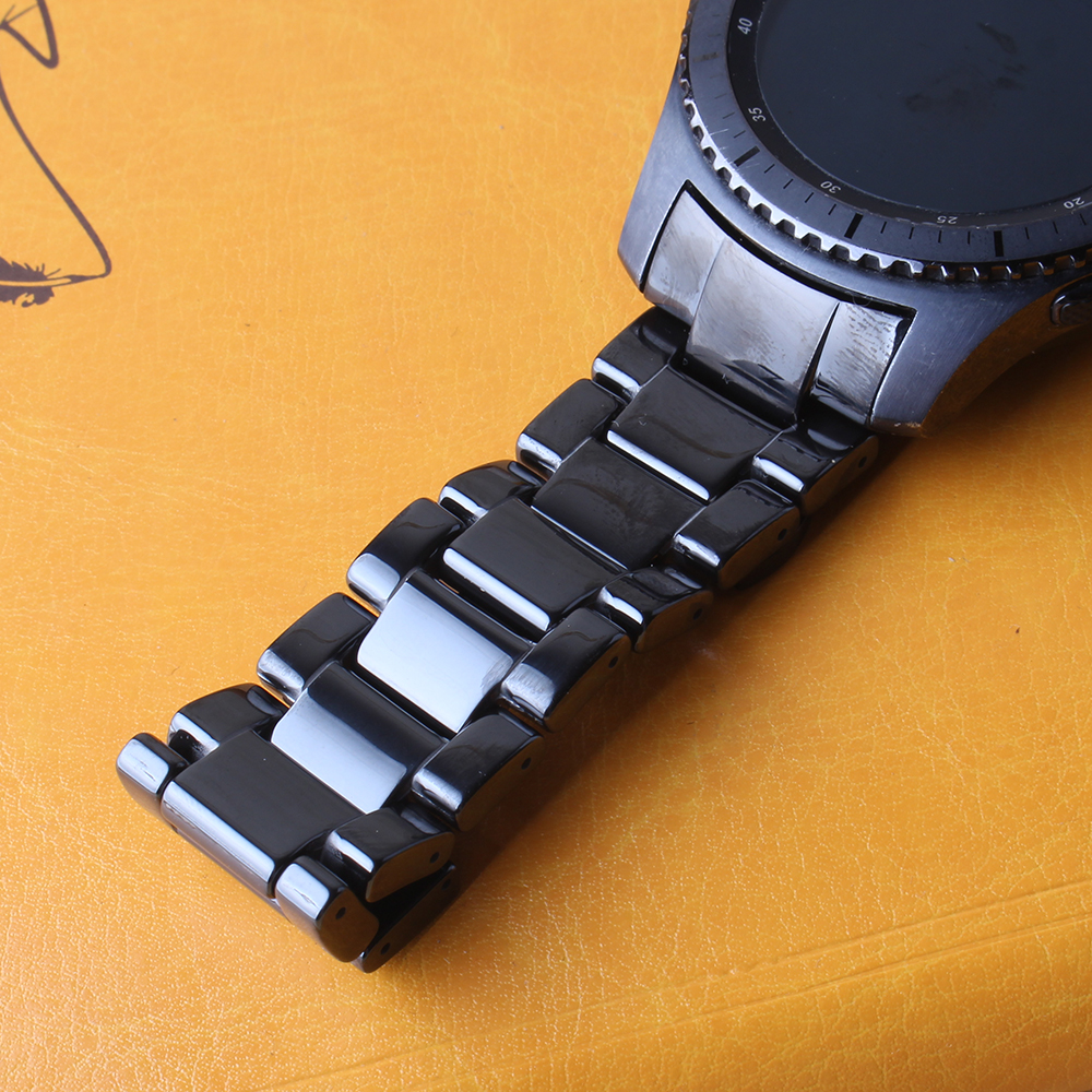 Bracelet de montre en céramique noir en acier inoxydable boucle Bracelet de montre pour Samsung Gear S3 Frontier Bracelet classique montre intelligente Bracelet 22mm