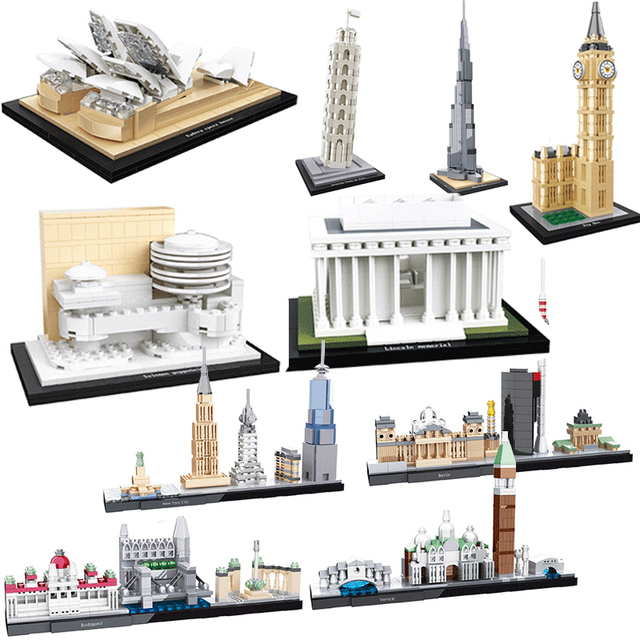 e5ca97cf5 HSANHE Compatible legoed City Mini world great Architecture Diamond Blocks New  York tower Sets model Building