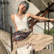 Kliou women white crop top v-neck rivet button design 2019 summer female fashion street short tank top tees vacation clothes
