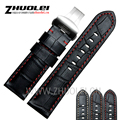 24mm Handmade Black Red Stitched Genuine Calf Leather Watch Strap Band For deployment buckle Watchband Strap for Panerai PAM