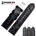 24mm Handmade Preto Costurado Vermelho Genuine Calf Leather Watch Strap Banda Para implantação buckle Strap Pulseira para Panerai PAM
