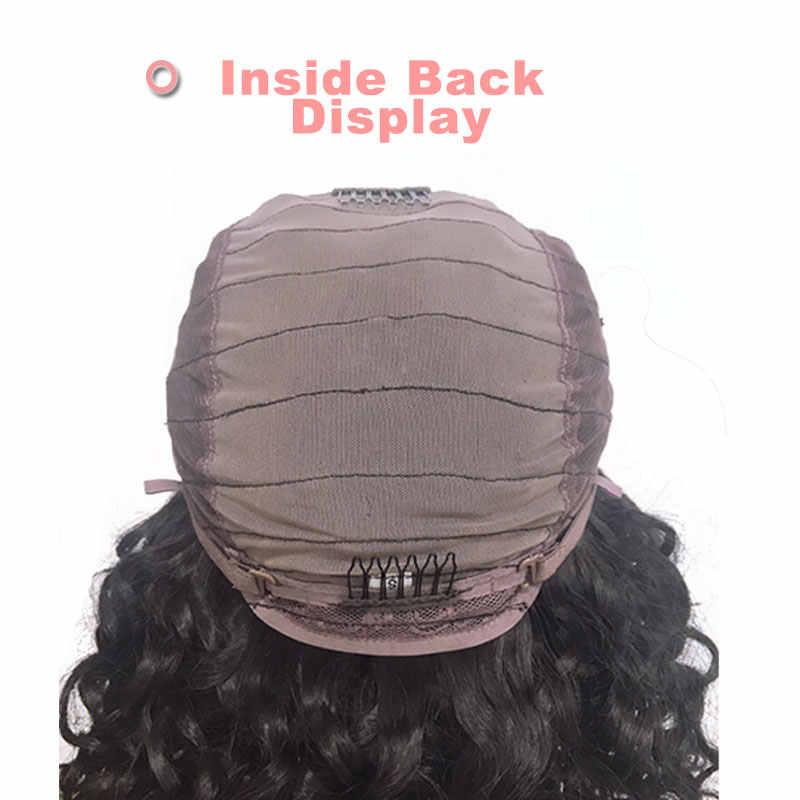 2/3 piezas brasileño de la onda profunda paquete con 4x4 de cierre de encaje Peluca de Pre-arrancado con el pelo del bebé virgen pelucas de encaje Remy cabello humano