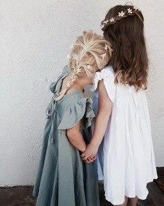 Image 2 - Perakende kız elbise bebek giysileri yaz beyaz yeşil parlama kollu fırfır güzel çocuklar kızlar için elbiseler E19074