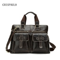 CHISPAULO Genuine Leather Men Bag Business Briefcase Laptop Style Factory Wholesale Bags Leisure Men S Handbag