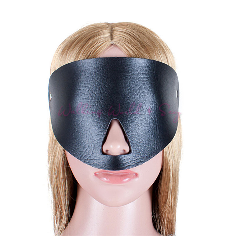 Soft Leather <font><b>Eye</b></font> <font><b>Mask</b></font> Open Nose Sexy Blindfold Adult <font><b>Sex</b></font> Products Fetish Bondage Sexy Blinder <font><b>Sex</b></font> Toys For Women <font><b>Sex</b></font> Aid Party image
