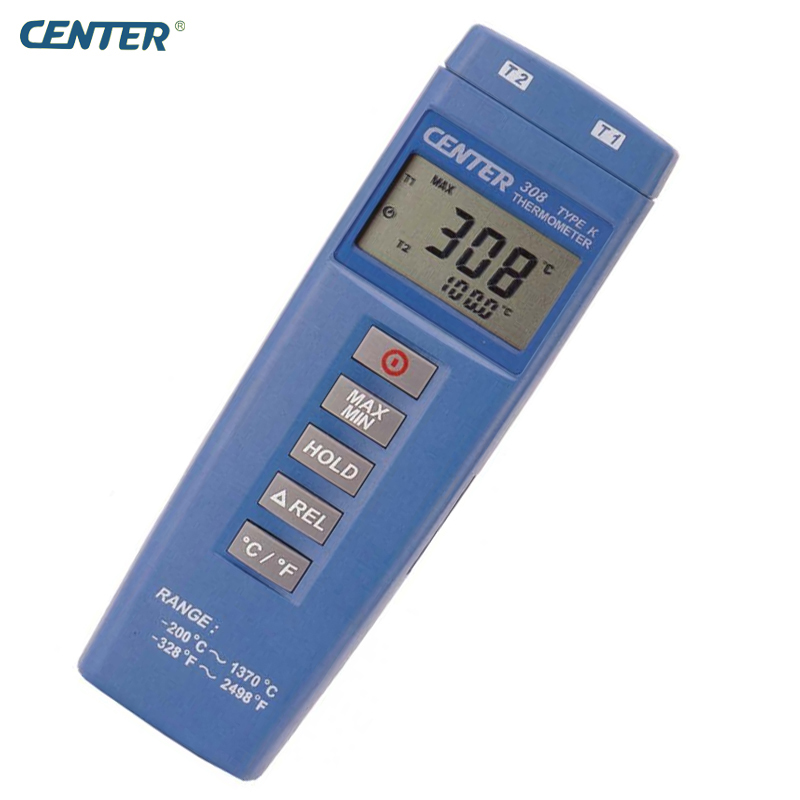 Compact Size Low Cost Dual Inputs Industrial Thermometer CENTER308 simple low cost electronics projects