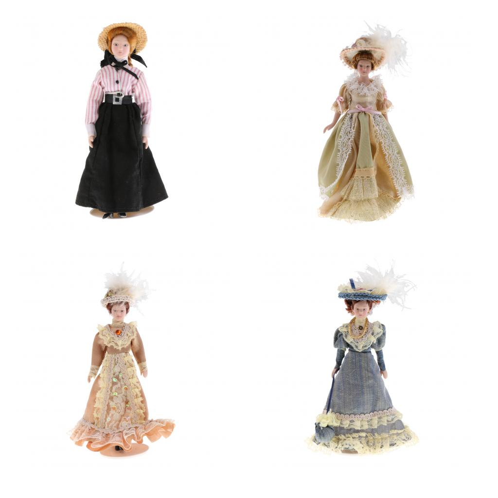 1:12 Dollhouse Miniature Porcelain Doll Victorian Lady in Striped Clothes Toy for Kids Adult Collectible Xmas Birthday Gift