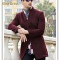 Man Woolen Overcoat Promotion New Full Regular Worsted Mandarin Collar Solid Single Breasted Male Jacket Standard Men Wool Coat