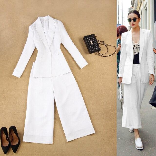 Europa y los Estados Unidos en la primavera y el verano de las mujeres manera simple OL traje blanco + 9 puntos pantalones anchos de la pierna pantalones traje