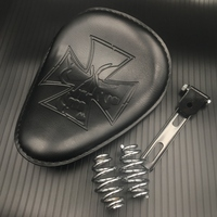 Motorcycle Black Leather Solo Seat+3 Spring Swivel Bracket for Harley Custom Chopper Bobber Saddle Seat