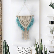 Blue Hand Knotted Macrame Wall Art Handmade Cotton Bohemian Hanging Tapestry with Tassel Boho Home Wedding Decoration