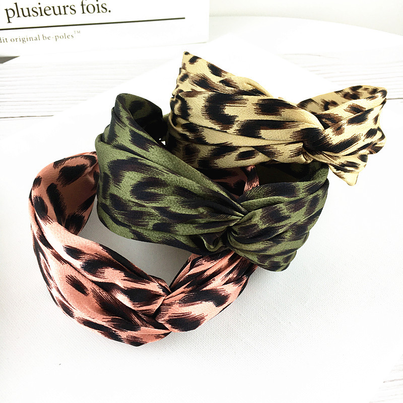 New contrasting color cross leopard print knotted wide side headband women 39 s headband pressure hair clips hair accessories in Women 39 s Hair Accessories from Apparel Accessories