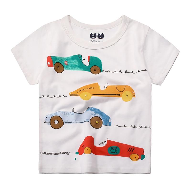 1-10T Cotton Cartoon Car Pattern Φ_Φ Kids Kids T-shirts ...