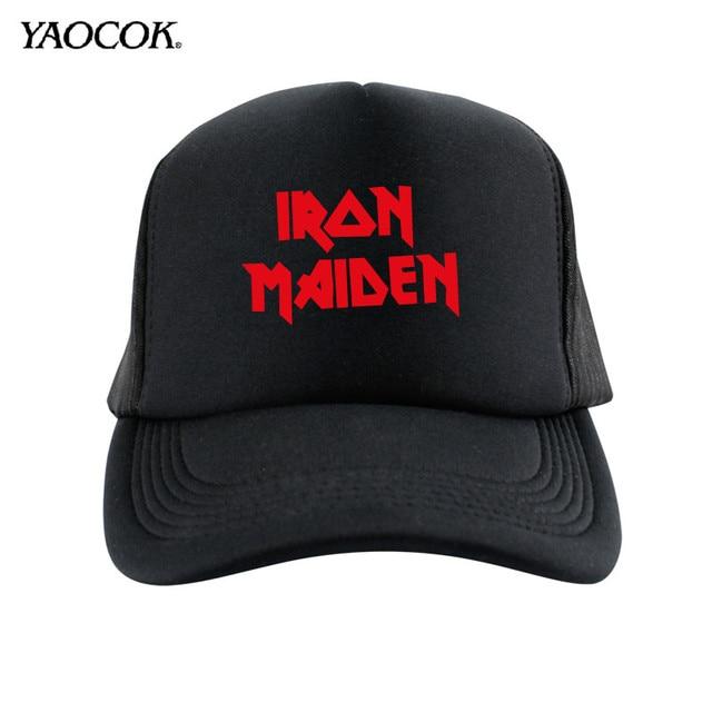 New Arrivals 2015 Winter Logo Custom Printed Iron Maiden Punk Rock Band  Cool Mens Sun Snapback Hats And Caps Sport Brand Black 92a90933e55