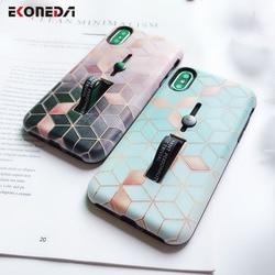 EKONEDA Hidden Holder For iPhone 7 Plus Case iPhone X Case Ring Relief Ingradient Geometric For iPhone XS Max XR 6S 8 Plus Case 6