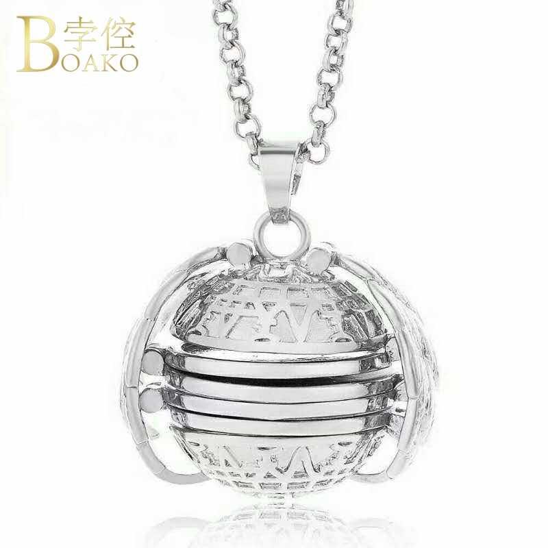 Collar de memoria de BOAKO para mujer/hombre foto caja colgante collar memoria de planeta plegable foto medallón cumpleaños collar familia regalo Z5