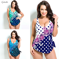 2017 Qpladlse Flower Bikini Women One Piece Plus Size Rose Swim Wear Green Beachwear Blue Bathing