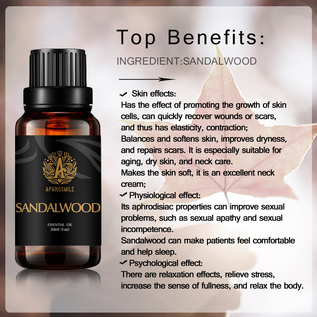 Natural Skin Care Sandalwood Essential Oils Fade Out Fine Lines Promote Skin Regeneration Body Relax Sandalwood Aroma Oil 30ml