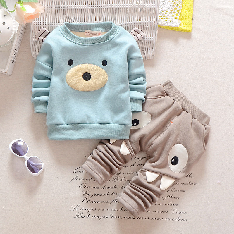 BibiCola 2017 New Autumn Winter Baby Girls boys Kids Warm Clothing Set Cartoon Thick Sweatshirt +pants 2 pc Girl Clothes Set