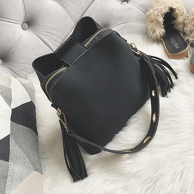 2019 Fashion Scrub Women Bucket Bag Vintage Tassel Messenger Bag High Quality Retro Shoulder Bag Simple Crossbody Bag Tote 1