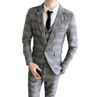 Spring tide men's plaid suit three piece suit Korean Slim wedding dress (blazer + vest + pants) suit jacket boutique men's suit