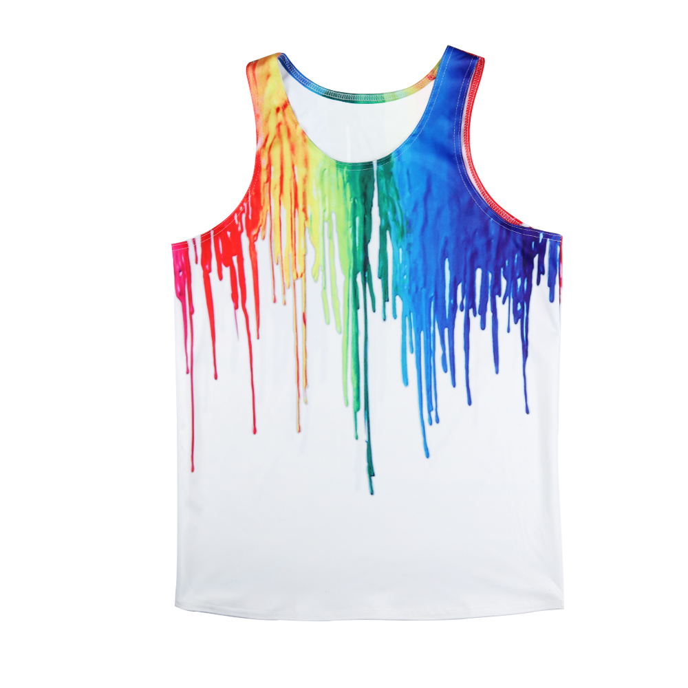 2019 Summer Mens   Tank     Tops   Fashion Oil Paint 3D Print Vest Sleeveless Casual   Tops   Bodybuilding Clothing