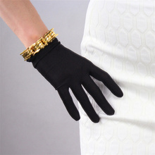 WomenS Natural Silk Elastic Gloves Short Paragraph  Milky White Black Sun TB15