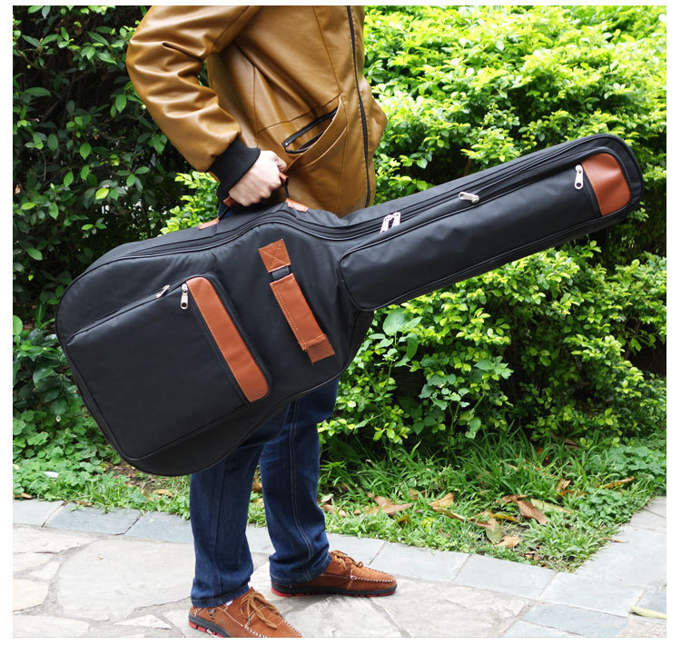 2015 new good quality 39 40 41 inch acoustic guitar gig bag case PU backpack shoulder padded protection waterproof free shipping 41 inch classical acoustic guitar back carry cover case bag 5mm shoulder straps