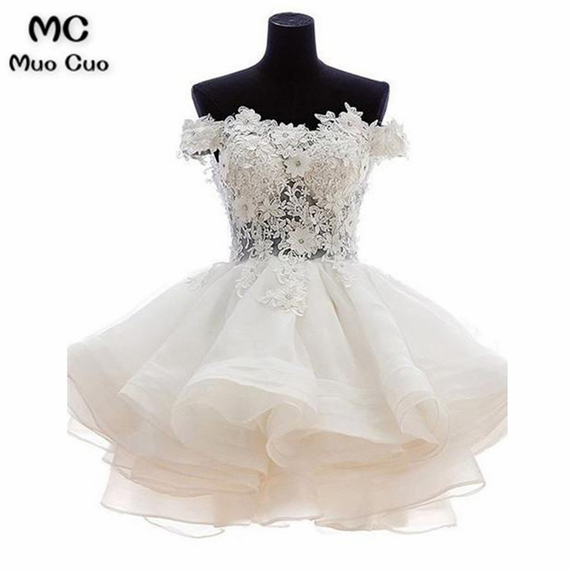 Ball Gown 2018 Off Shoulder Graduation Homecoming Dresses Short with Appliques Ruffles Homecoming Cocktail Party Dress Short