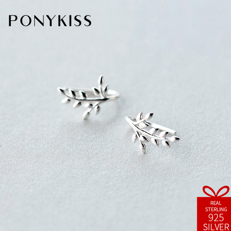 PONYKISS Trendy S925 Sterling Silver Chic Trendy Leaf Plant Stud Earrings Women Fine Jewelry Accessory Birthday Party Cute Gift