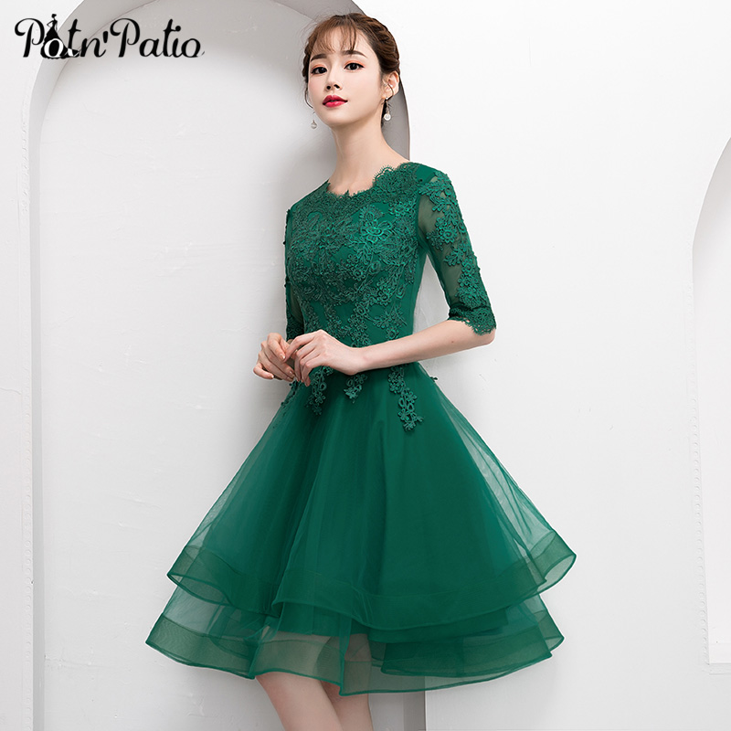 Elegant Green Short Tulle Prom Dress with Half Sleeve Sexy Lace Applique Knee Length Formal Gown