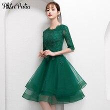 Elegancka zielona krótka tiulowa sukienka na studniówkę z pół rękawa seksowna koronkowa aplikacja do kolan suknia wieczorowa suknia wieczorowa Plus rozmiar