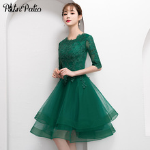 Elegant Green Short Tulle Prom Dress with Half Sleeve Sexy Lace Applique Knee Length Formal Gown Evening Party Dress Plus Size