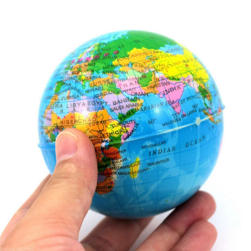 1PCS World Map Foam Earth Globe Hand Wrist Exercise Stress Relief Squeeze Soft Foam Ball For Kids Toys