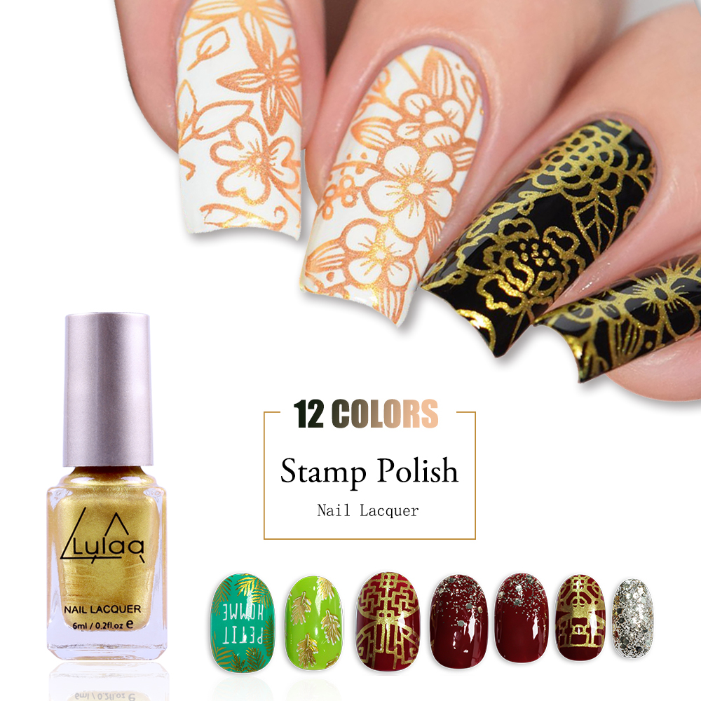 6ML Stamping Nail Polish 12 Colors Lacquer Designs DIY Template Manicure Art