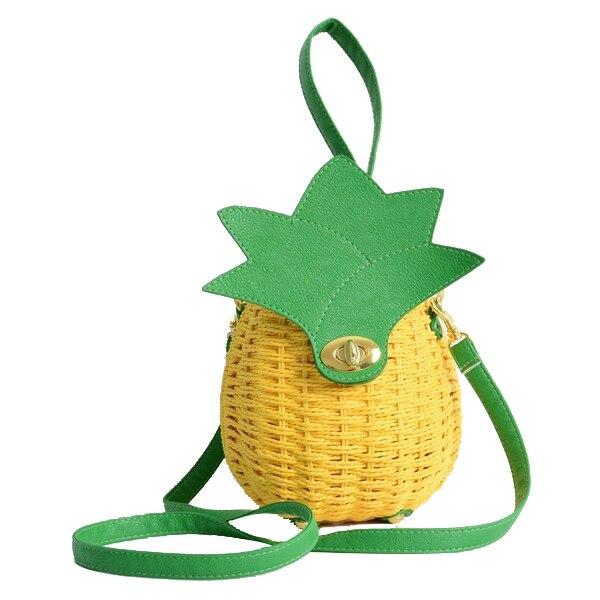 5x 1 Pcs New Straw Bag New Cute Fruit Bag Pineapple Package Pure Handmade Woven Circular Handbag (Color: Yellowx straw bag women beach bag hand made woven circular shoulder handbag messenger bags 2016 new cute fruit travel pineapple purse