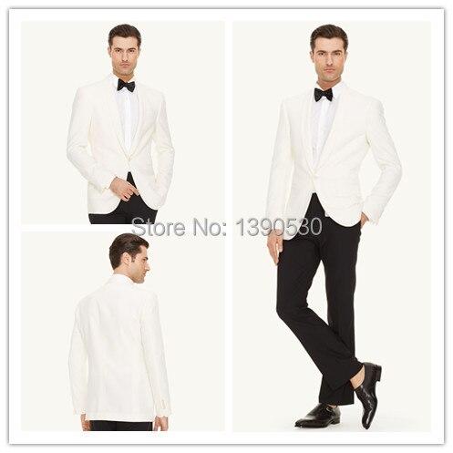 HOT SELLING 100% gyapjú Kézzel készített fehér dzseki + fekete nadrág 2 db egy gombos kendő lapát vőlegény legjobb férfi öltöny