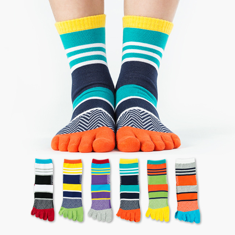 NEW High Quality Brand Mens Summer Cotton Calcetines Striped Contrast Colorful  Men's Socks 5 Five Finger Socks