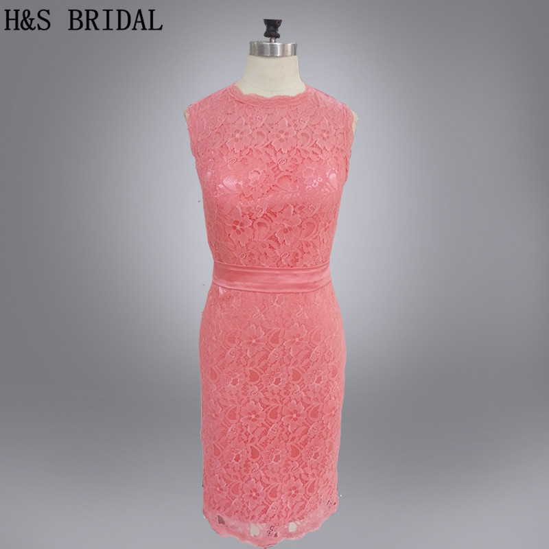 H&S BRIDAL Real Model Short Lace Prom   Dress   O Neck   cocktail     dress