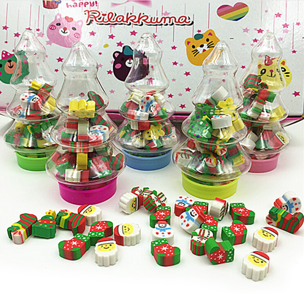 Christmas Gift Santa Tree Mini Eraser Kawaii Designer Students Stationery School Supplies Papelaria Gift For Kids