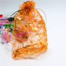 100PCs Colorful Heart Organza Bags Charm Jewelry Bags Wedding XMAS Party Favor Gift Pouches For Love Gift Jewelry 13cmx18cm