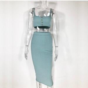 Image 5 - Комплект из 2 предметов в рубчик NewAsia Garden, вязаный комплект для осени и зимы: укороченный топ и юбка, женские костюмы из 2 предметов, женские костюмы