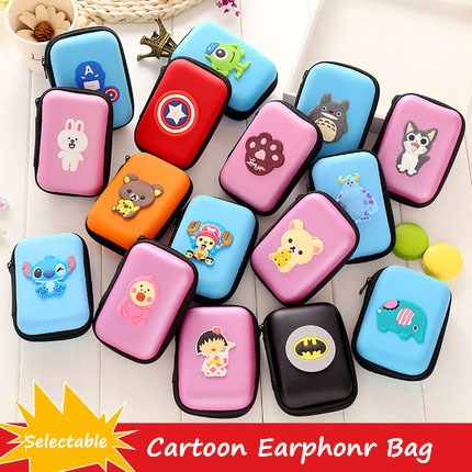 Cute Cartoon USB Cable Earphone Protector Set Bag For iPhone Samsung Winder Stickers Spiral Cord