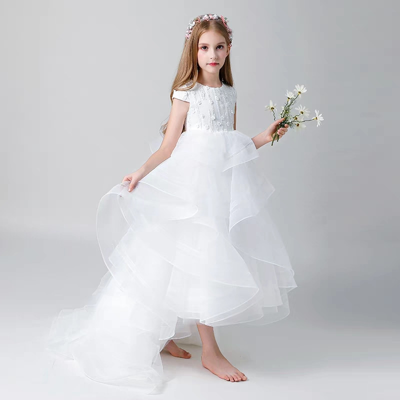 High-quality Children girls luxury princess white birthday wedding party long tail dress kids teens evening party layers dress 2017 new high quality girls children white color princess dress kids baby birthday wedding party lace dress with bow knot design