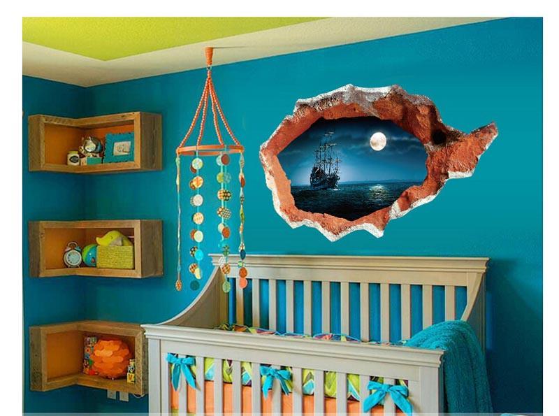 3d parede da ruptura do navio pirata fantasma navegação pasta de arte decorativa sala quarto adesivos de parede removível adesivos à prova d água em