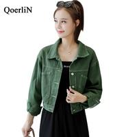 QoerliN Bomber Jacket Jeans Girls Batwing Sleeve Outwear Women Winter Coat Solid Green Denim Jacket Coat Female Baseball Coat
